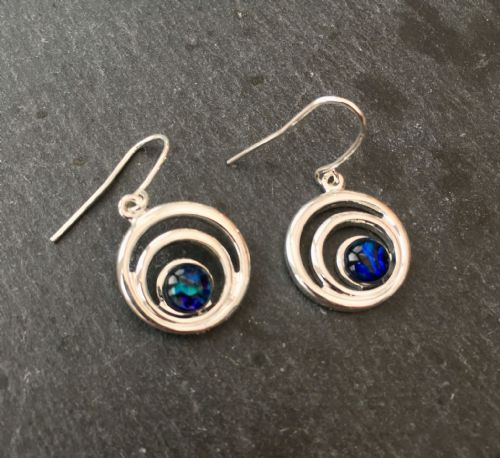 Paua Blue Earrings - Small Double Swirl Circle PE17-SC